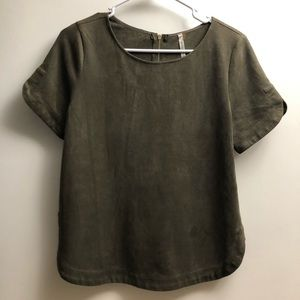 Mittoshop green suede-like blouse